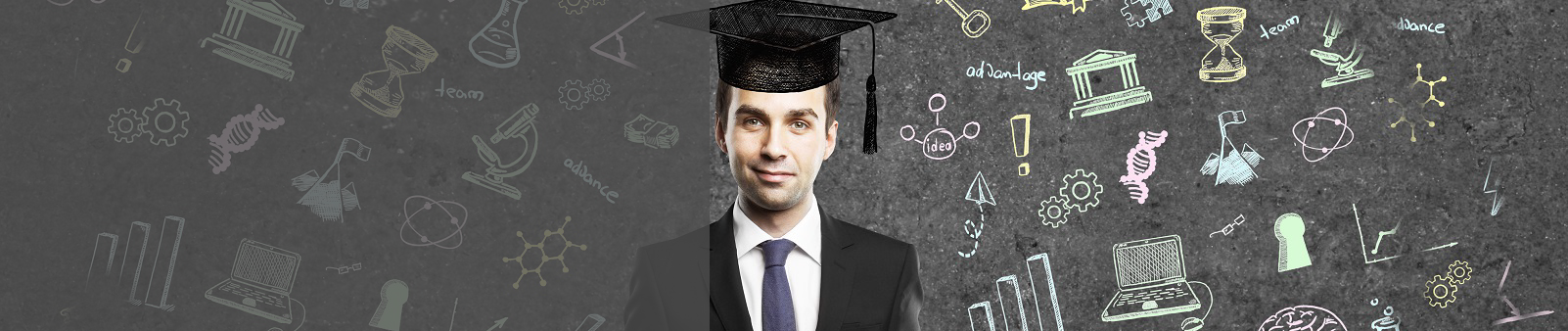 Marketable Skills - graduate with skills drawn on chalkboard